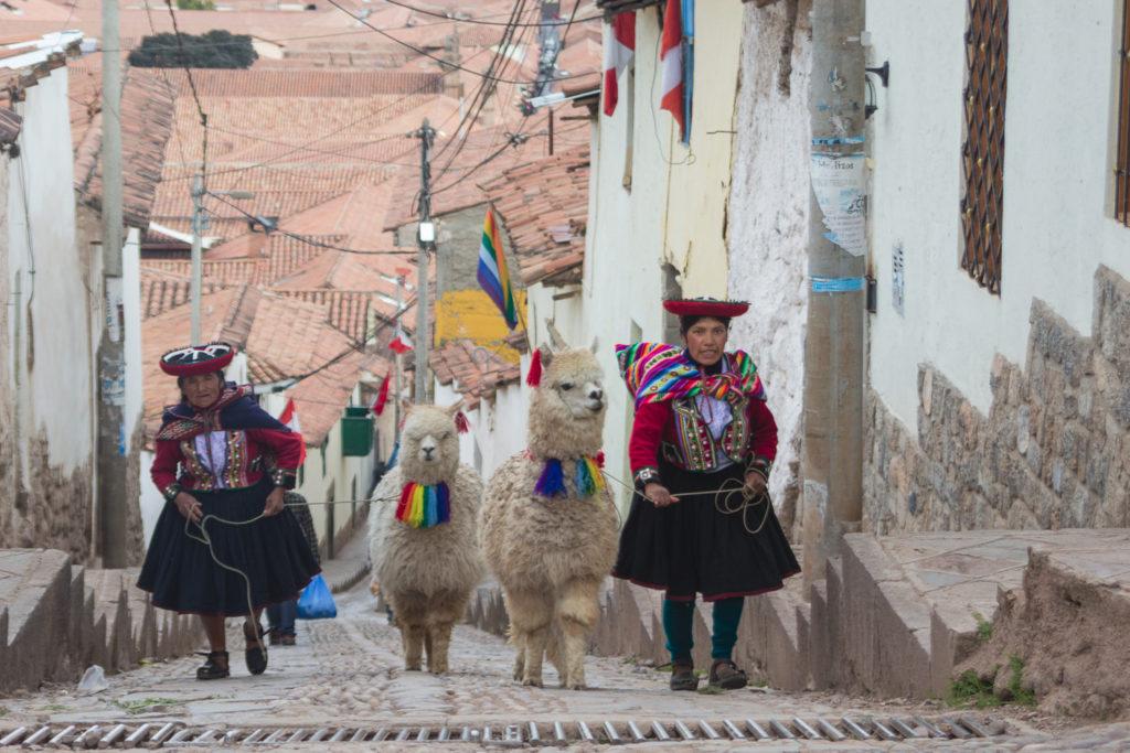 Deux femmes en costumes traditionnels et lamas dans les rues de Cusco, Pérou