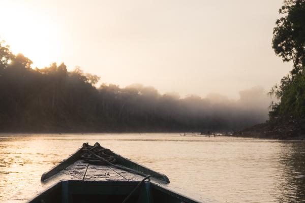 Pirogue sur le rio tembopata, Amazonie, pérou