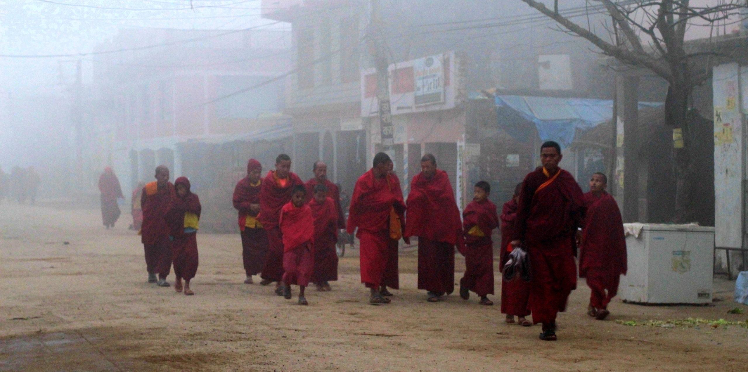 Moines avançant dans la brume à Lumbini, Népal