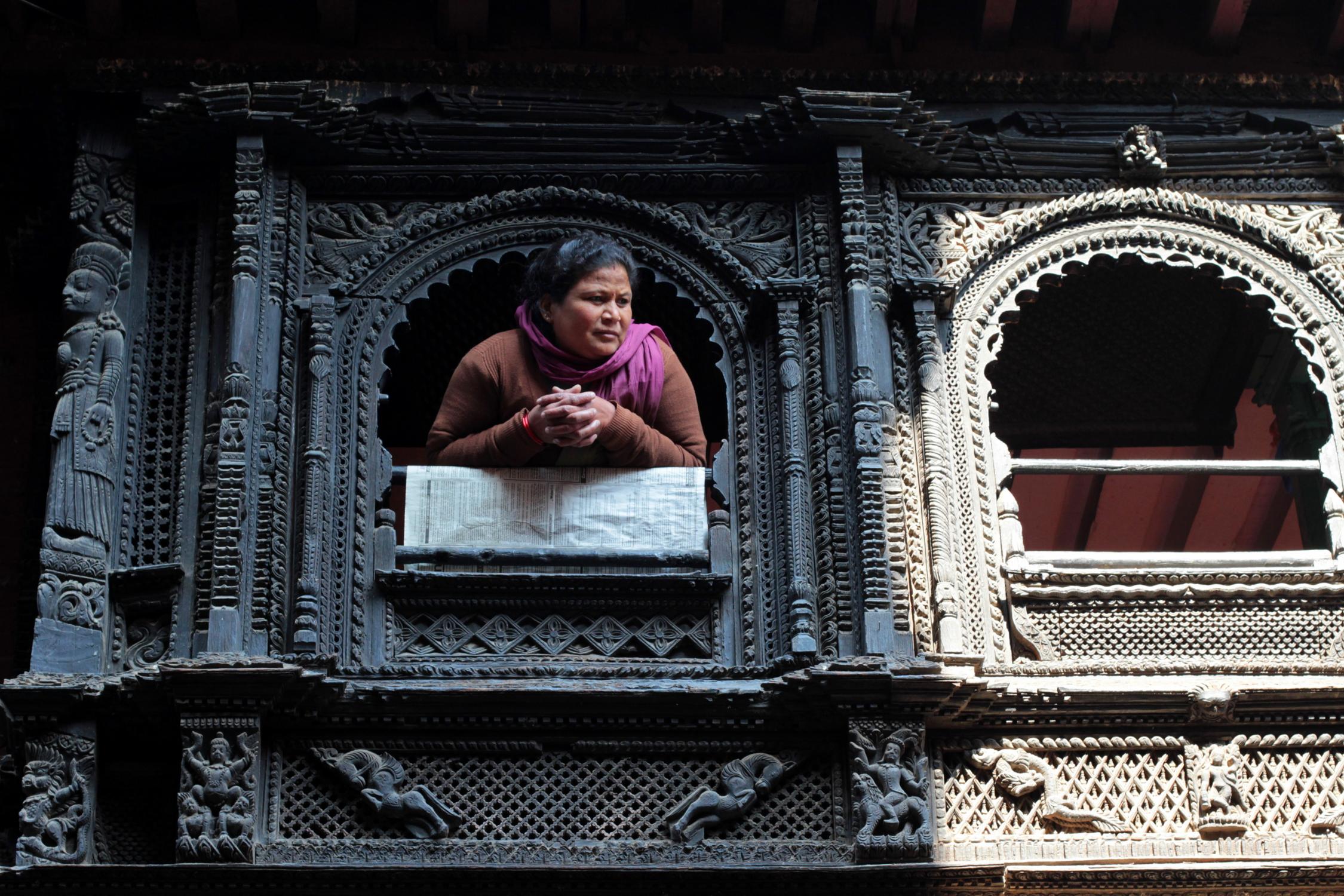 Fenêtre en bois de Bhaktapur, Népal