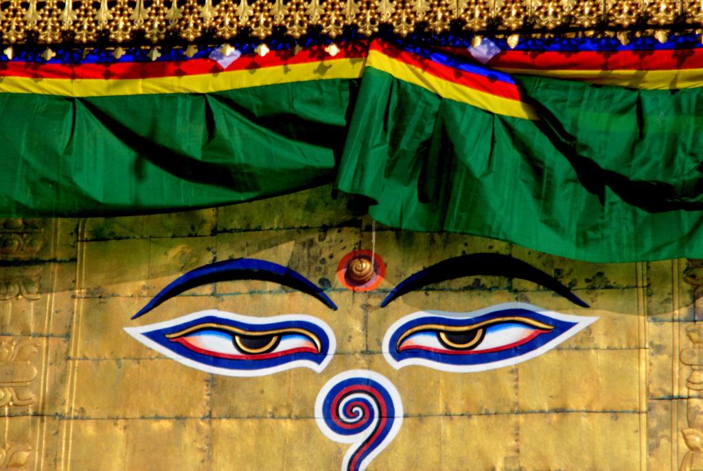 Yeux de Bouddhas à la stupa Swayanbhunath, Kathmandu, Népal