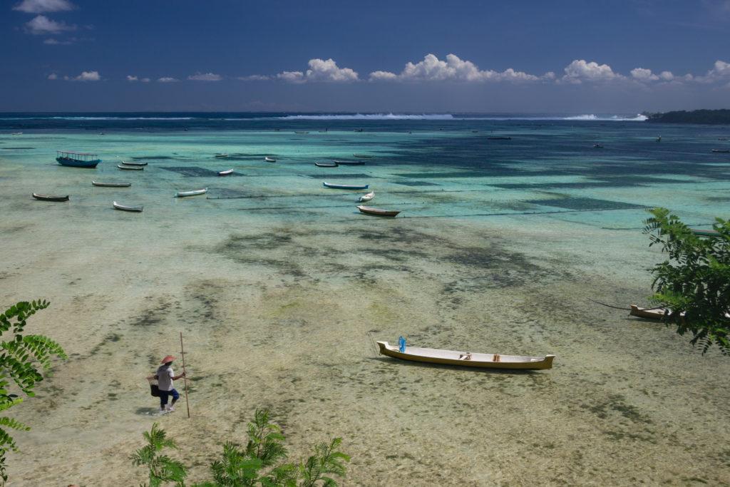 Pêcheur dans le lagon de Nusa Lembogan, au large de Bali, Indonésie