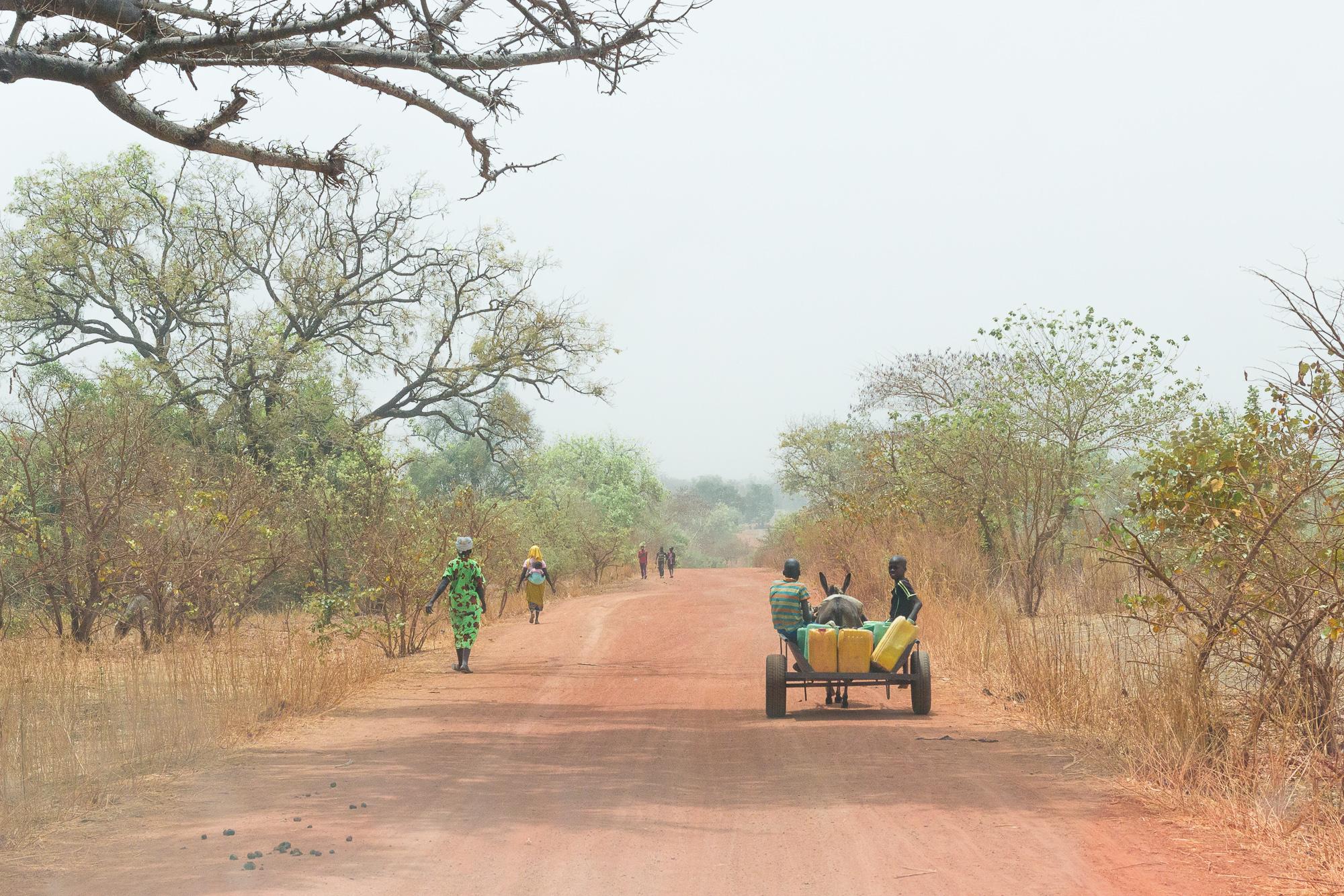 Carriole tirée par un âne et piétons sur la piste rouge entre Nazinga et Bobo Dioulasso, Burkina Faso