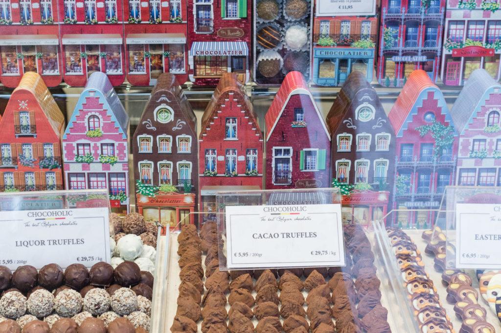 Chocolat belge, vitrine, Bruges, Belgique