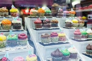 Cup-cakes, vitrine, Bruges, Belgique