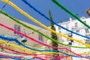 Guirlandes de fête, Alfama, Lisbonne, Portugal