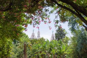 Basilique d'Estrela et ses décorations turquoises, vue du jardin d'Estrela