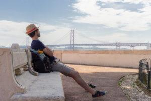 Vue sur le pont du 25 avril, Lisbonne, Portugal