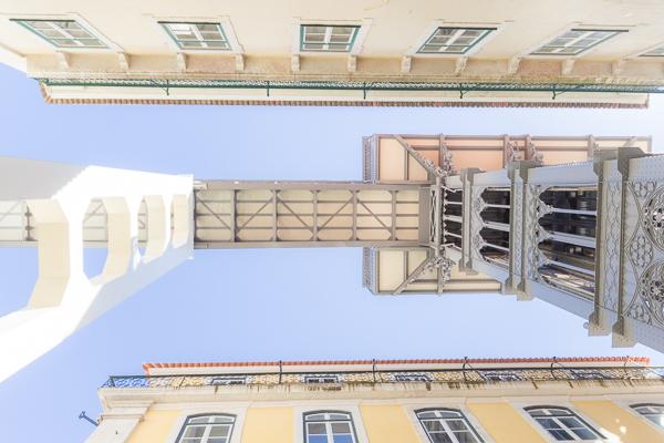 contre-plongée, Elevator Santa Justa, architecture, Lisbonne, Portugal