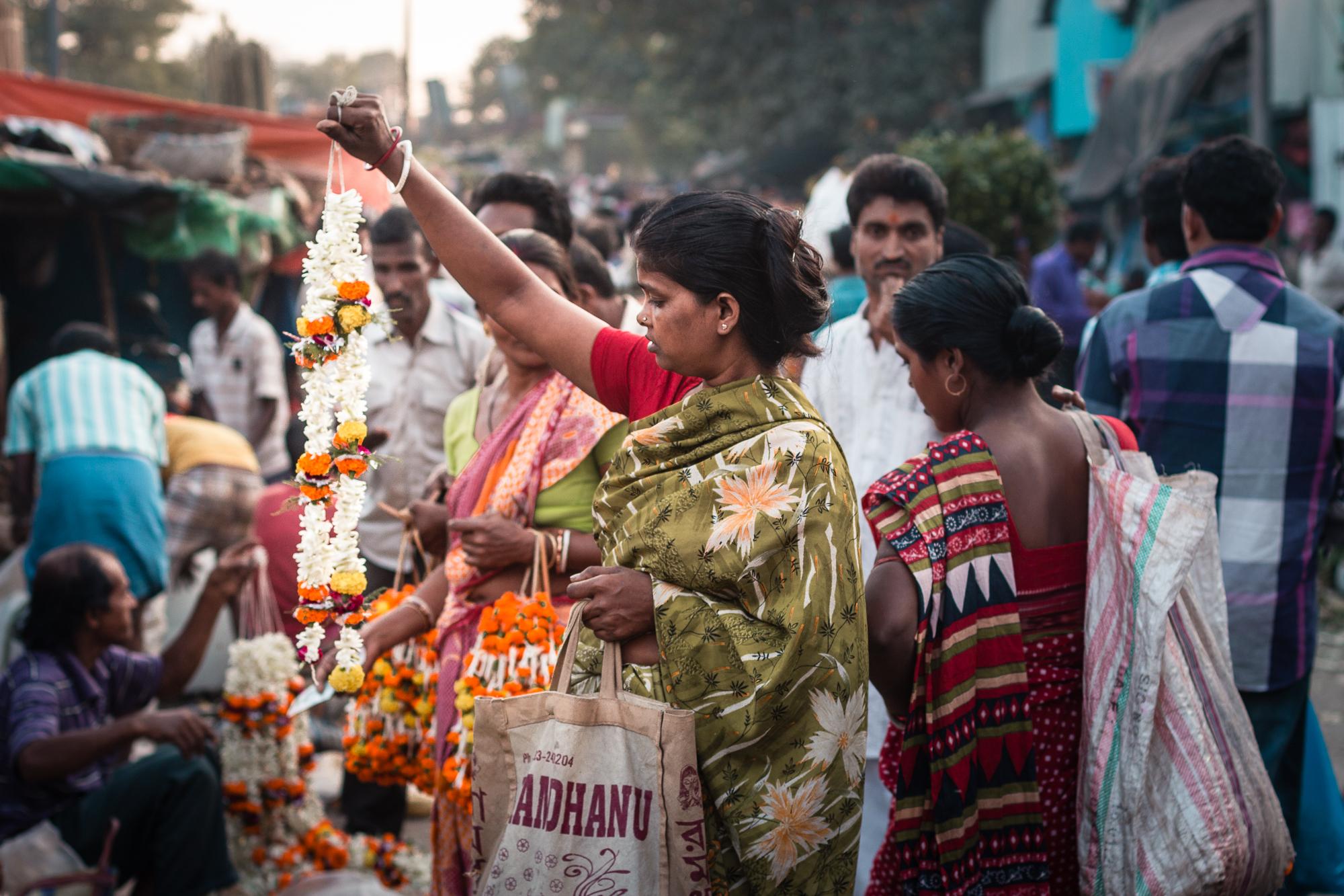 indienne marché aux fleurs calcutta