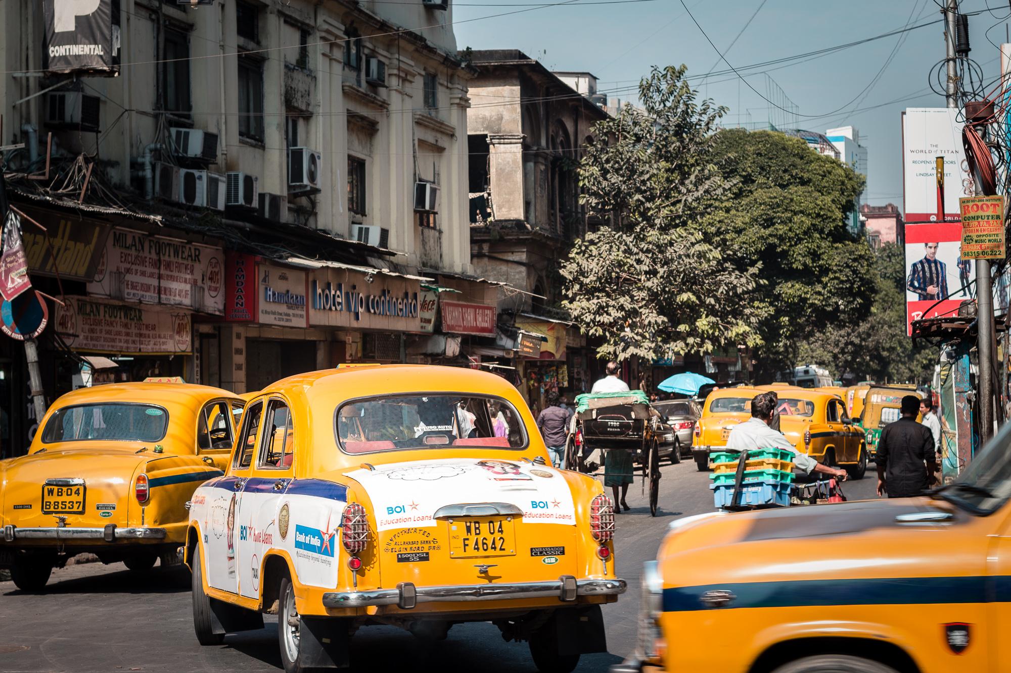 taxis jaunes calcutta
