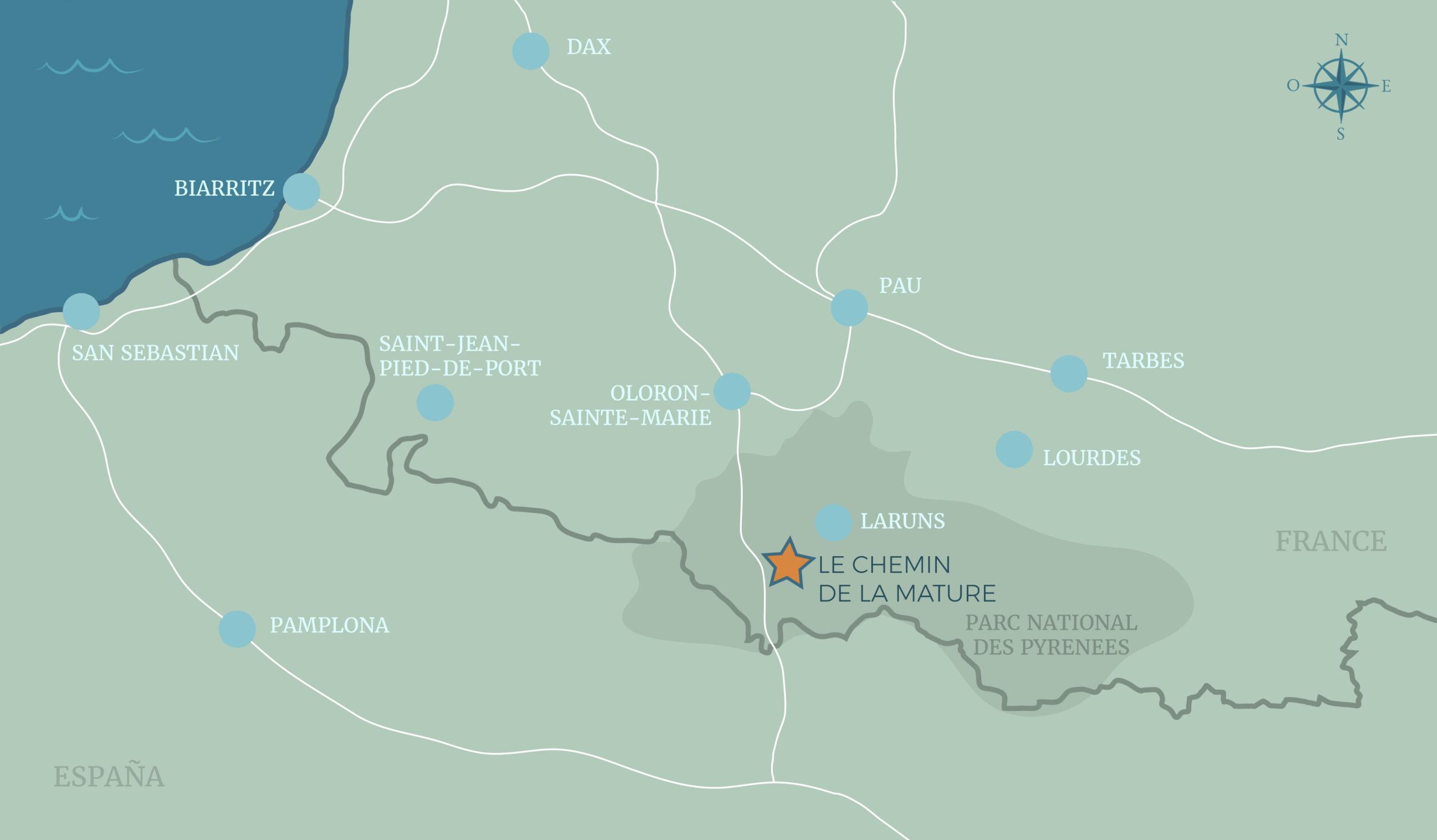 carte pyrenees localisation chemin mature